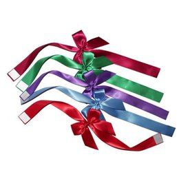 Wholesale Decorative Bottles For Gifts - Gift Packing Bow for Decorative Bottles Pre Tied Satin Bows Chocolate Satin Bows Free Shipping