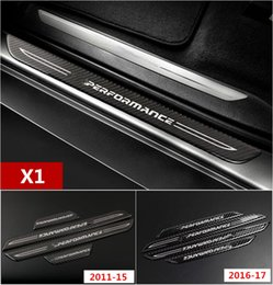 Wholesale Bmw Pedals - Car styling Carbon Fiber Middle Threshold Strips decoration Car Door Welcome pedal Trim decals for BMW X1