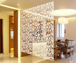 Wholesale Hanging Screen Curtain - 40cmx40cm Biombo Curtain wall panels hanging screen mobile living room entrance minimalist fashion Chinese folding screen 8Pcs lot