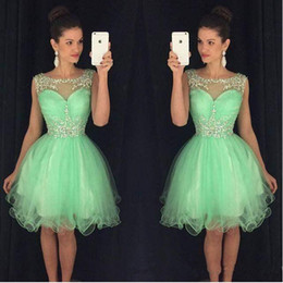 Wholesale mint short homecoming dress - Mint Crystal Yellow Scoop Neck Sleeveless Short Homecoming Dresses With Beaded Neckline Vestido 2017 A-Line Semi Prom Gowns 8th Grade Party