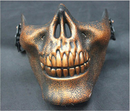 Wholesale Skull Mask For Masquerade - Half face skull PVC Zombie Skeleton mask gold silver color Halloween costume Masquerade Party cosplay mask free shipping