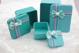Wholesale Plate Candy Box - Wholesale- 1pcs Tiffany Blue Tinplate candy box Square Tin Plate gift box with bow tie candy box wedding favor wedding supplies