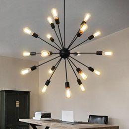 Argentina Luz colgante de la lámpara de la industria de restaurantes del pueblo americano del hierro con 12 16 18 20 cabezas E27 satélite Droplight para el restaurante Suministro