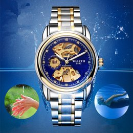 Wholesale Mechanical Hollow Sided - 2017 automatic mechanical watch double-sided hollow men's watch waterproof luminous business belt through the end of the watch