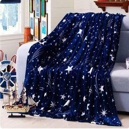 Wholesale Star Fleece Blanket - High Density Super Soft Flannel Blanket to on for the sofa bed textile cute plush wool fluffy blue green stars boys blanket