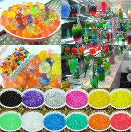 Wholesale Gel Beads For Flowers - 500g lot Hydrogel Balls Growing Water Balls Water Beads Crystal Gel Aqua Jelly Beads Grow Crystal Soil For Flower Home Décor CCA6754 60pcs