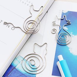 Wholesale Cute Shaped Paper Clips - 100PCS Cute Animal Shaped Metal Bookmark Clips Mini Paper Memo Clip Office School Stationery Supplies Students Gift with Retail Package