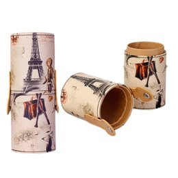 Wholesale Cylinder Leather Bag - Wholesale- Closed Type Leather Cosmetic Box Storage Holder Cylinder Shape Container Makeup Brushes Holder Tube Portable Worldwide sale