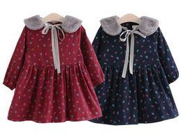 Wholesale girls clothing leopard print dress - Girls Dress Winter Fashion Children Leaves Printing Baby Girl Dresses Hair Collar Long Sleeve Children Clothing