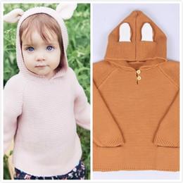 Wholesale Kids Knitwear Wholesale - INS Spring Fall Winter Baby Cotton Pullover Sweaters Toddlers Infant Bear Ear Hooded Clothes Girl Boy Knitwear Children Kid Warm Jumper Wear