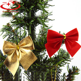 Wholesale Ornaments For Christmas Tree - Wholesale-12PCS bag Gold Red Christmas Bow Flannel Xmas Tree Hanging Ornaments Cheap Navidad Christmas Decorations For Home