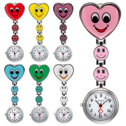 Wholesale Crystal Glass Pocket Watch - Cute Crystal Three Smiling Faces Heart Clip-On Pendant Nurse Watches Doctor portable Fob Brooches Pocket Watch