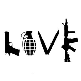 Wholesale Car Love Stickers - 12CM * 20CM LOVE With Guns Car Sticker Grenade Hand Gun Car Stickers Styling And Decals