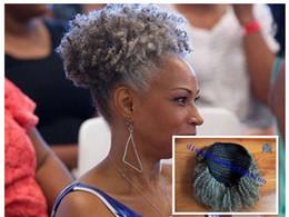 afro puff kinky encaracolado cordão Desconto 100% real cabelo cinza sopro afro rabo de cavalo extensão do cabelo clipe em Remy afro kinky encaracolado cordão rabo de cavalo cinza extensão do cabelo 120g