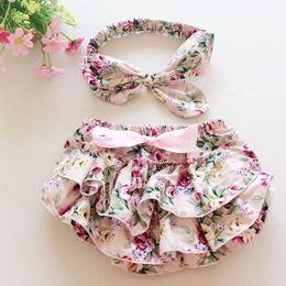 Wholesale Wholesale Skinny Satin Headbands - Baby girl kids infant toddler satin vintage rose flower floral bloomers shorts short pants BB pants + bowknot rosette headband 2pcs sets