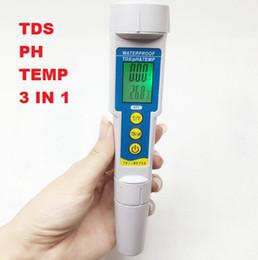 2019 ph misuratore di conducibilità Wholesale-3 In1 Funzione di alta qualità TDS PH Meter Tester di temperatura penna Conducibilità Strumento di misurazione della qualità dell'acqua TDSPH Tester ph misuratore di conducibilità economici