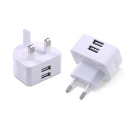 Wholesale European Charger Usb - Mini UK European Plug Wall Charger White Charging Adapter Travel Home Standard Two Ports USB Charger For Universal Cellphone And Tablet