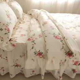 Wholesale Lace Duvet Cover Set - Wholesale- YY Korean Luxury bedding set custom pillow cover cotton lace ruffle duvet cover flower bedding wedding bedspread home textile
