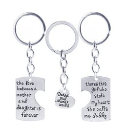 Wholesale Man Steal - The love Between Mother Daughter Dad Girl Mother's World Stole Heart Key Chain Alloy Heart Charm Key Ring Keychains Women Me Jewelry 161868