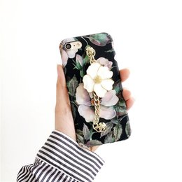 Wholesale Chain Protective Covers - Fashion Retro Vintage Series Beautiful Camellia Flower Back Cover with chain Hard PC Protective Phone Case For iPhone 6S 6Plus 7 plus
