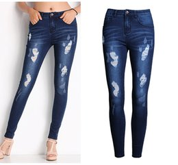 Wholesale Vintage Skinny Ties - Wholesale- 2053 New 2017 Hot Fashion Ladies Cotton Denim Pants Stretch Womens Bleach Ripped Skinny Jeans Denim Jeans For Female