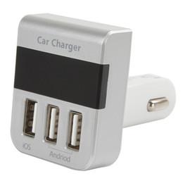 Wholesale Digital Volt Gauges - Wholesale- 3 USB Ports DC 5V 3100mA Output Smart LED Digital Display Cigarette Lighter USB Car Charger Voltmeter Voltage Gauge Measure