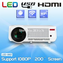 Wholesale Amaze Android - Wholesale-amazing 5500Lumens Home Theater Projector Android LED Wifi RJ45 1080P HD LCD Projectors with 2HDMI VGA 2USB connect phone