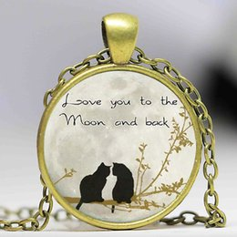 Wholesale Cute Christmas Couples Gifts - Free shipping i love you to the moon and back Pendant Cute Double Cat Couple Necklace