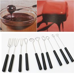 Wholesale Pastry Forks - 10pcs set DIY stainless steel Chocolate Dipping Fork set plastic handle Candy Nuts Fruit Cake Fondue chocolate tool for baking Pastry
