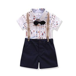 Wholesale Little Boys Suspenders - Kids Boys Outfits Short Sleeve Shirt Bowtie Gentleman Suspender Clothing Set for Little Boys Kids High Quailty