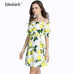 Wholesale Champagne Wholesale Dress - Wholesale- New 2017 plus size cotton Autumn summer Women Dress short Sleeve Casual sexy wide boat neck Dresses Vestidos WC0584