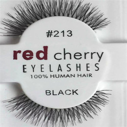 eyelashes wispies Coupons - 1 Pairs RED CHERRY False Eyelashes Natural Long Eye Lashes Extension Makeup Professional Faux Eyelash Winged Fake Lashes Wispies 213#