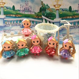 Wholesale Baby Doll Pendant - 3.6Inch Mini Doll Figures Dolls Cartoon Toys Children Print Cloth Pendant 9cm Dolls Keyring Good Gift