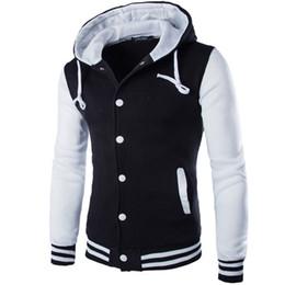 Wholesale Brand Stylish Jacket - Wholesale- New Hooded Baseball Jacket Men 2016 Fashion Design Black Mens Slim Fit Varsity Jacket Brand Stylish College Jacekt Veste Homme