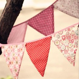 bannière de bourrage de tissu Promotion Vente en gros - Fabric Bunting Wedding Garden Party Vintage Pastel Floral Banner Drapeaux Baby Shower Decoration Shabby Chic