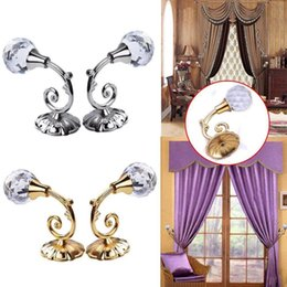 Wholesale Crystal Curtain Wall - New 2pcs Large Metal Crystal Ball Curtain Hooks Tassel Wall Tie Back Hanger Holder Curtain Hanging Tools