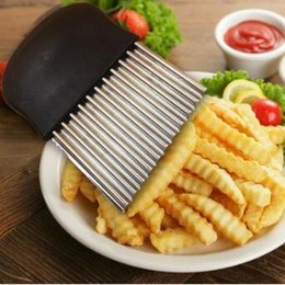 Wholesale Wave Cutter - Vegetable Gadgets Wave Chopper Potato Cutter Knife Onion Fork Holder Slicing Stainless Steel Kitchen Tools CCA8041 100pcs