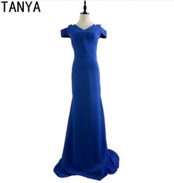 Wholesale Evening Ceremony Dress - Royal Blue Mermaid Off the shoulder Prom Dresses Floor Length Simple Cheap Formal Gowns Zipper Evening Ceremony Dress