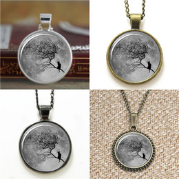Wholesale Full Christmas Tree - 10pcs Full Moon Cat On Tree Branches Midnight inspired Necklace keyring bookmark cufflink earring bracelet