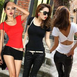 Wholesale Cheap Punk Shirts - Wholesale-Hot New Fashion Women Summer Hollow Top Short Sleeve Tee Casual Tops T Shirt harajuku Sexy Punk Club Shirts femme Cheap Z1