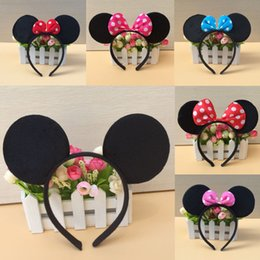 Wholesale Hair Bands Polka Dot - Mickey Minnie mouse ears Hairdband Hair accessories girls baby Accessories Halloween Children adult Christmas Bow Polka Dot Hair bands
