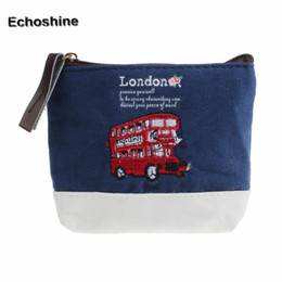 Wholesale Bus Bags - Wholesale- 2016 new brand London Bus Embroidered Admission Package Canvas Coin Purse Hand Bag gift free shipping &wholesale