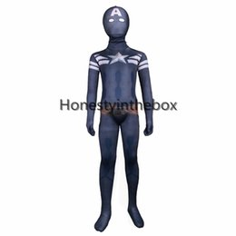 Wholesale Dark Blue Suits - Brand New Dark Blue Lycra Spandex Full Body Zentai Suit Superhero Children Captain America Bodysuit Costume For Halloween