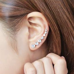 Wholesale Copper Refining - S925 silver refined temperament Zircon Earrings word seven Pente anti allergy