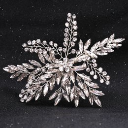 Wholesale Rhinestone Alloy Comb Hair Accessories - New Luxury Bridal Wedding Flower Crystal Rhinestone Hair Clip Comb Pin Drops Alloy Bridesmaid wedding Accessories Jewelry