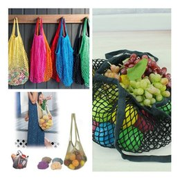 Wholesale String Net Bag - Fashion Contrast Handbag Fruits & Vegetable Shopping String Cotton Net Mesh Bag For Sun Clothes Toys Basketball Storage Bags IC530