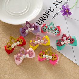 Wholesale Clip Bow Ties Wholesale - Children bowknot hairpin baby little girl hair clip hairpin imitation pearl crown bow tie hair trim headdress