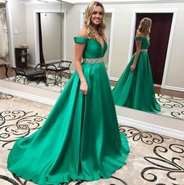 Wholesale Natural Waist Ball Gowns - 2017 Sexy Green Off Shoulder Sleeveless A-Line Satin Prom Dresses Red Carpet Long Formal Pageant Ball Gowns Beaded Waist Party Evening Gowns