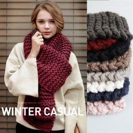 Wholesale Women Collar Crochet - Korean thick wool handmade crochet scarf female winter thicken long knitted student couple knitting unisex warm collar scarf B1096