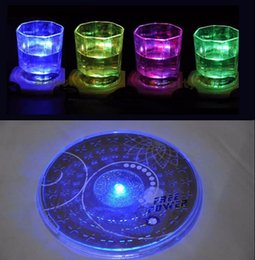 Wholesale Led Color Changing Light Coasters - Wholesale- NEW 1PC Fashion Color Changing LED Lights Bottle Cup Mat Coaster Hot Sale WFB